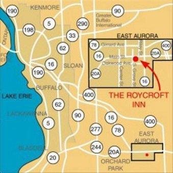 Map - Roycroft Inn East Aurora
